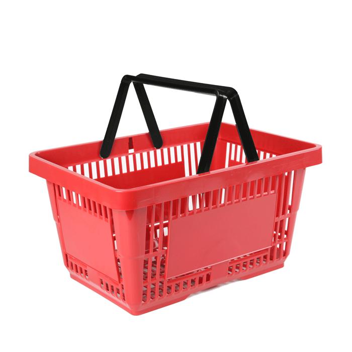 Einkaufskorb-Kunststoff-Standard-rot-2Griffe-stapelbar-45Grad