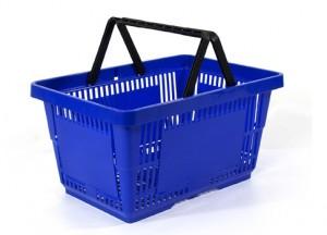 Einkaufskorb Kunststoff blau 22 Liter 2 Griffe
